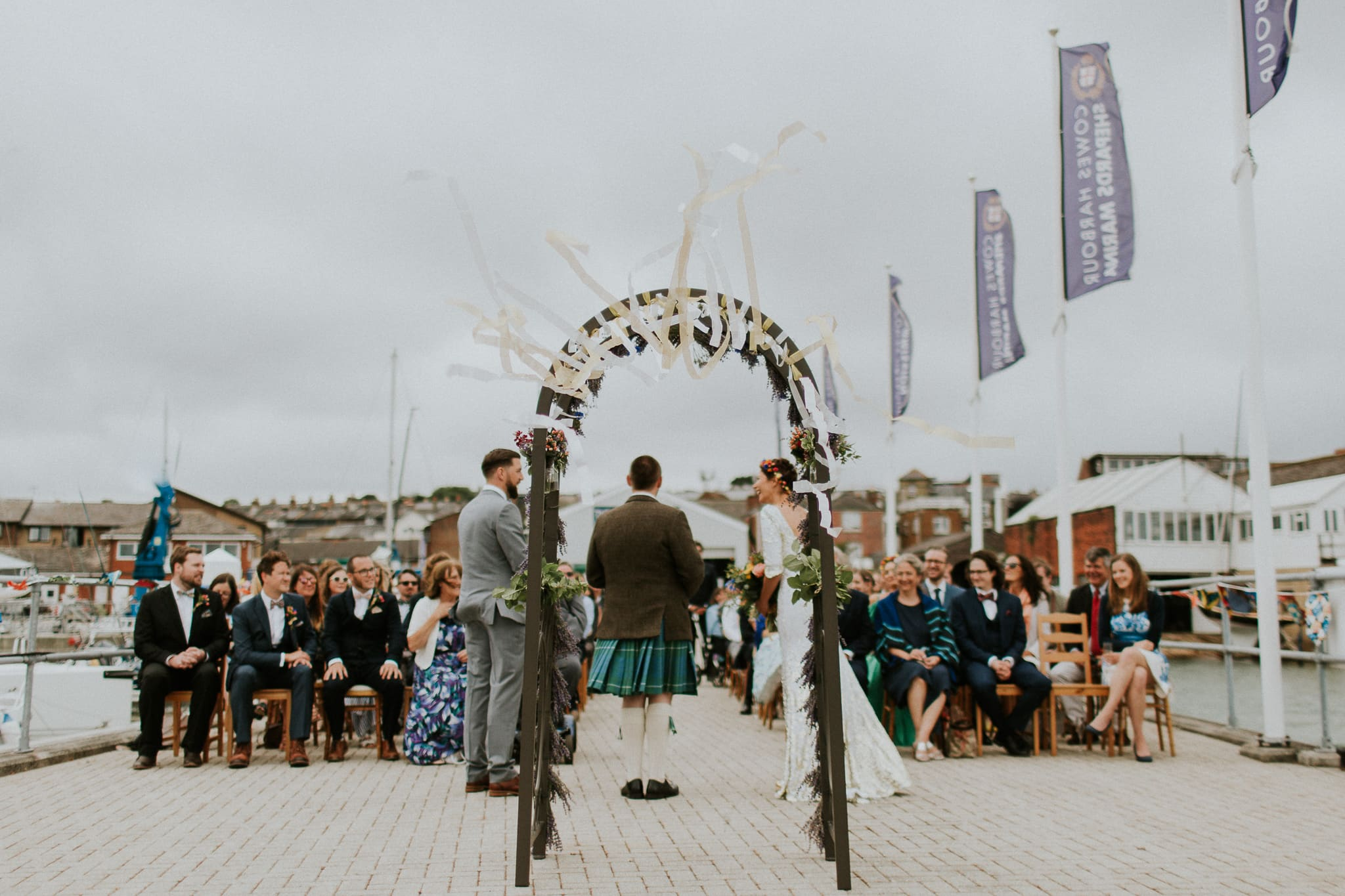 wedding ceremony on a pier
