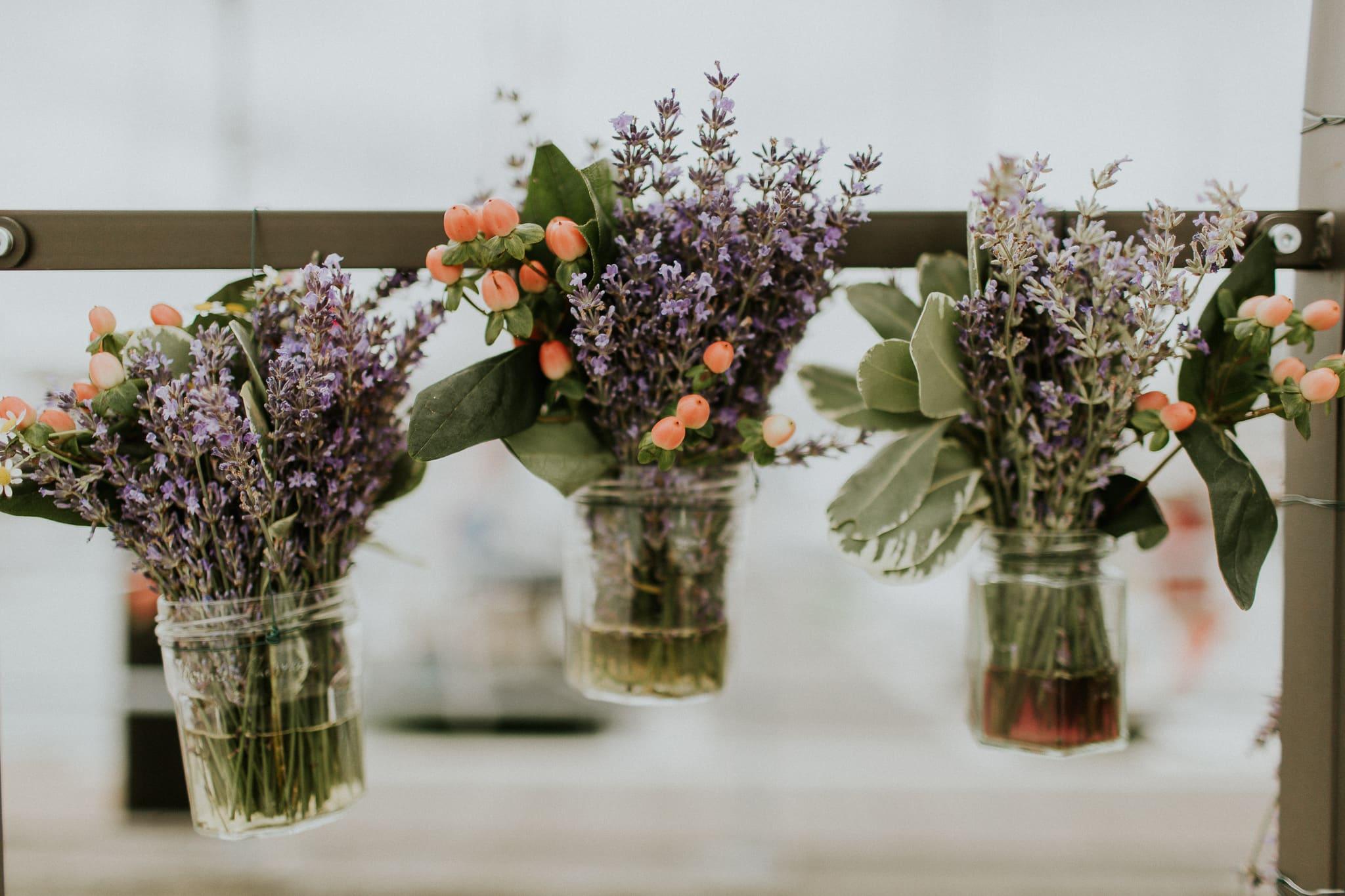 flowers hanging near ceremony