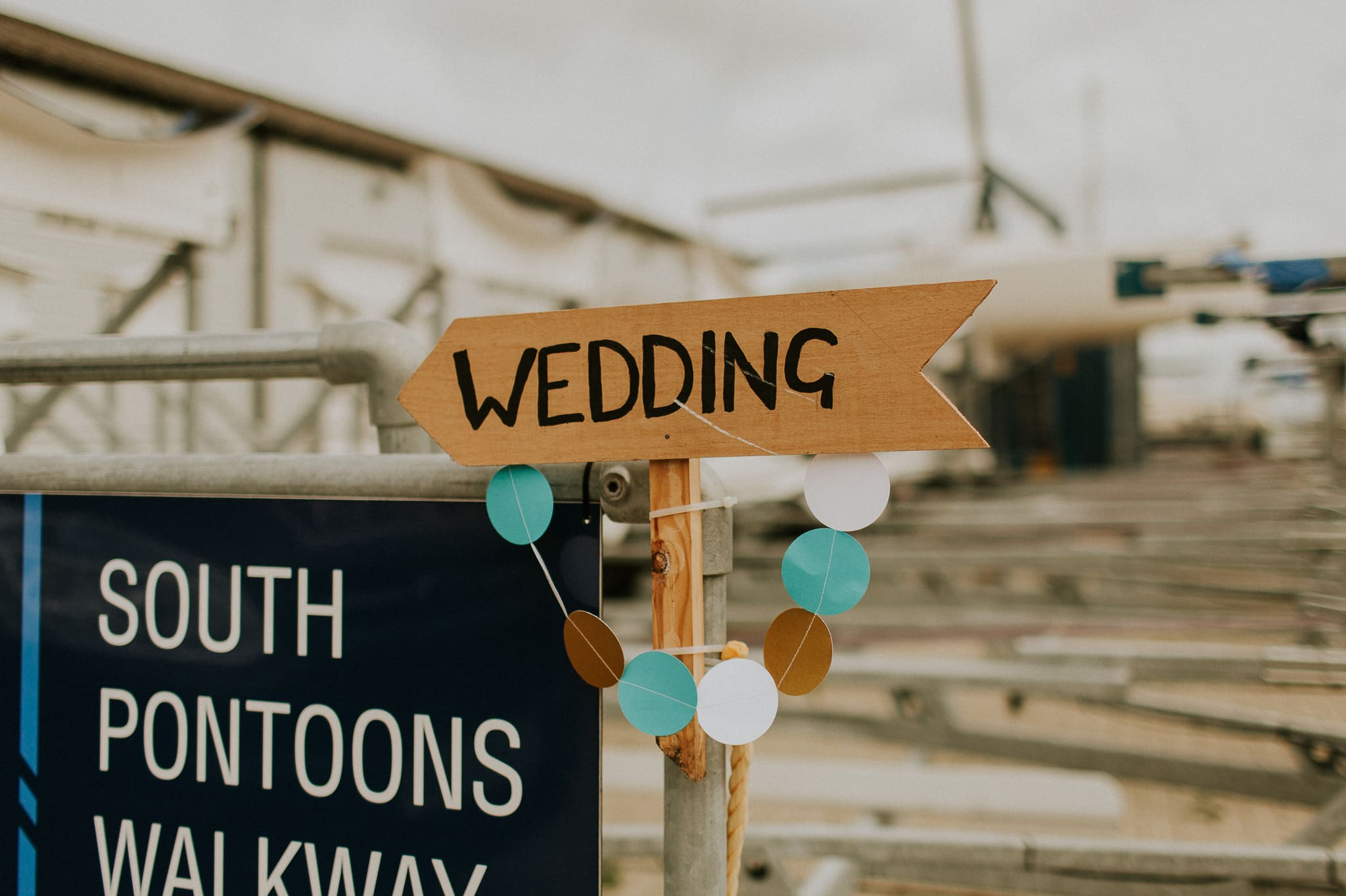 sign pointing in direction of wedding