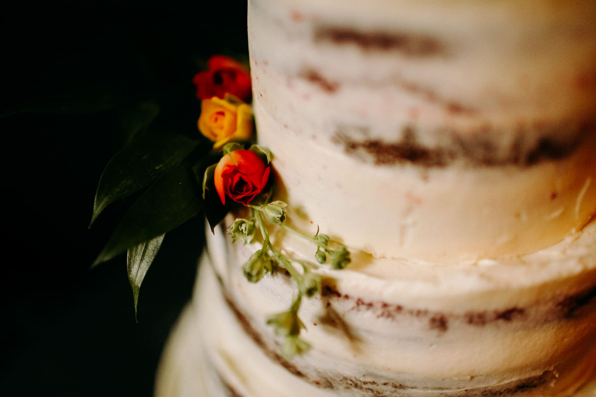 Wedding cake with flowers on
