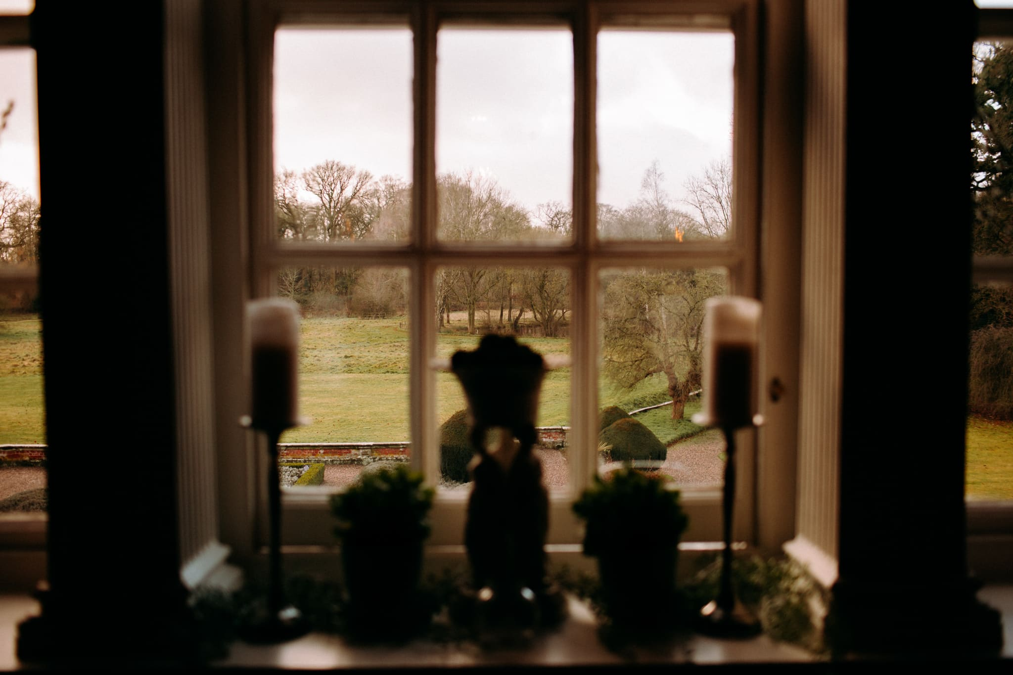 a view through a window from Iscoyd Park