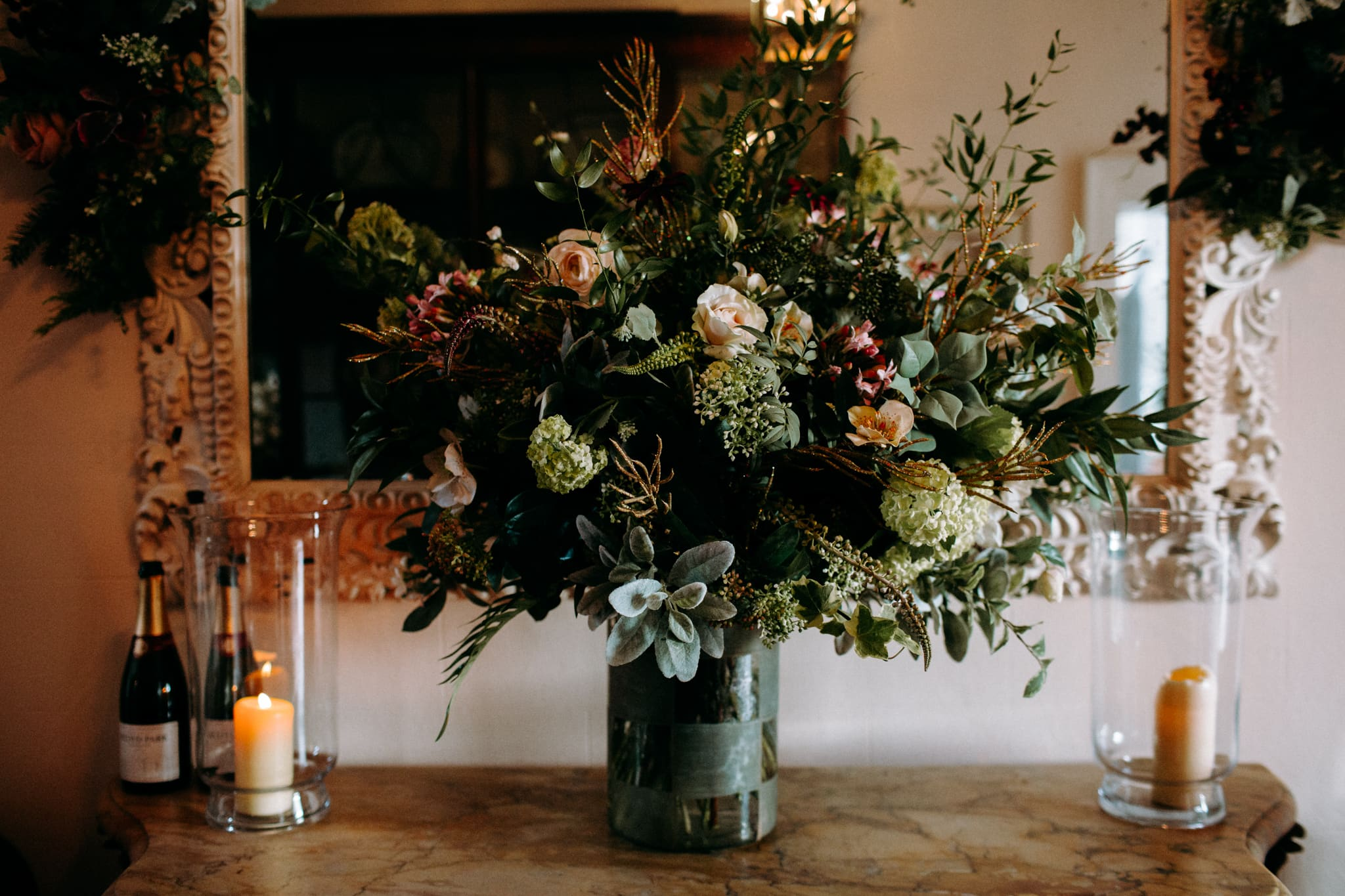 flowers inside Iscoyd Park country house